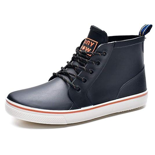 Huatime Bottes de Pluie Caoutchouc Shoes Homme Lacets