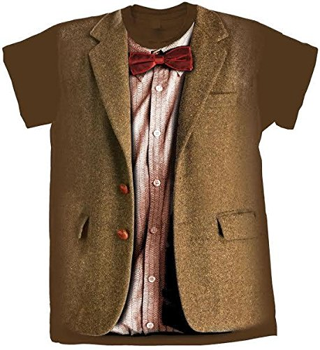 Dr 11th Who Costume Doctor (Doctor Who Classic Mens T-Shirt 11Th Doctor Costume Chestnut)