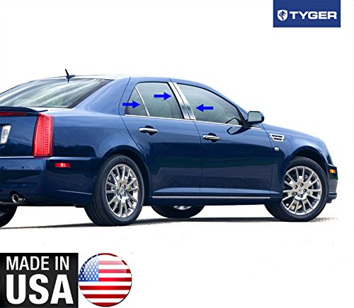 Made In USA! Works With 2005-2017 Cadillac STS 6PC Stainless Steel Chrome Pillar Post Trim