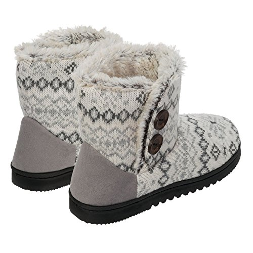 Dearfoams Damen Memory Foam Sweater stricken Indoor / Outdoor Bootie Hausschuhe Weiß