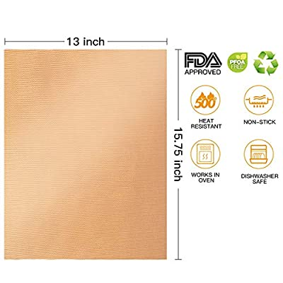"""Copper Grill Mat Set Of 5 - 13"""" x 15.75""""Grill Mats Non Stick-BBQ Grill & Baking Mats - FDA Approved, Reusable And Easy To Clean - Works On Gas, Charcoal, Electric Grill By YRYM HT"""