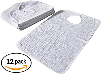 Linteum Textile Soft Terry Adult BIBS with Velcro Closure 22x36 in. 12-Pack White