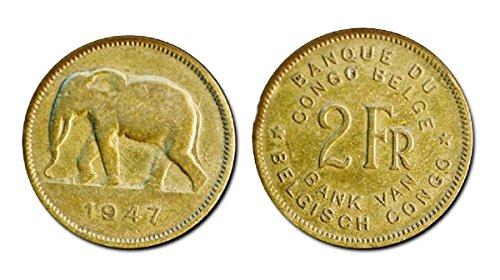 PT 1947 Ten (10) Belgian Congo 2 Francs Coins, KM28 F-VF 1947 African Elephant F-VF (Elephant Set Coin)