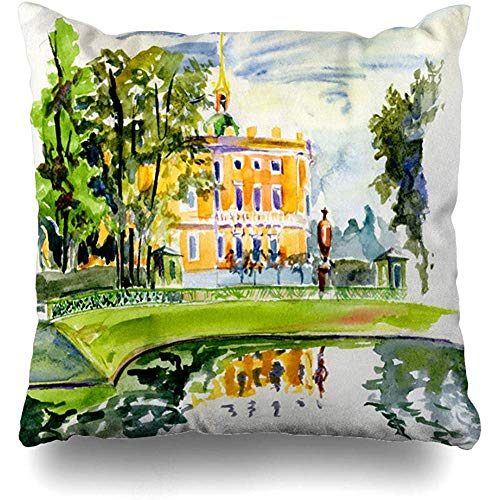 Throw Pillow Cushion Cover Case Petersburg Blue City Park Palace St Classic Ancient Green Artistic Clouds Dome Design Sky Home Decor Design Square Size 18
