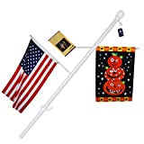 A-one 56'' Tangle Free Aluminum Flagpole for Grommet or House - American US Flag Pole Kit with Anti-wrap Sleeve, Stainless Steel Rust Prevention Clip & Decorative Ball, One Section, White