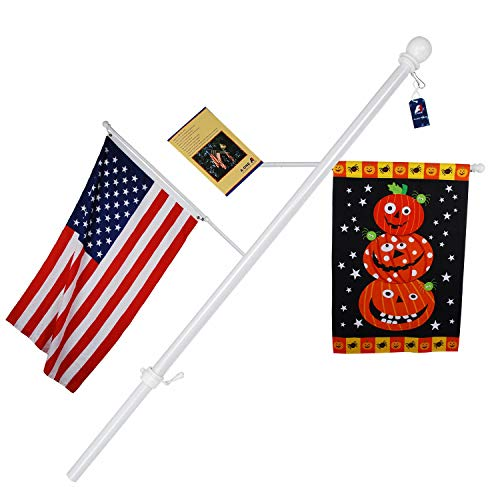 "A-ONE 56"" Tangle Free Aluminum Flagpole for Grommet or House - American US Flag Pole Kit with Anti-wrap Sleeve, Stainless Steel Rust Prevention Clip & Decorative Ball, White"