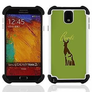 """SAMSUNG Galaxy Note 3 III / N9000 / N9005 - 3 en 1 impreso colorido de Altas Prestaciones PC Funda chaqueta Negro cubierta gel silicona suave (Bambe ciervos"""")"""