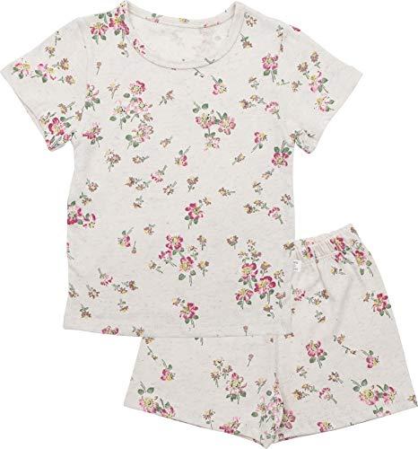 AVAUMA Flower Pattern Newborn Baby Little Boy Girl Linen Pajamas Summer Short Sleeve Sets Pjs Kids Clothes (XL/Pink Flower)
