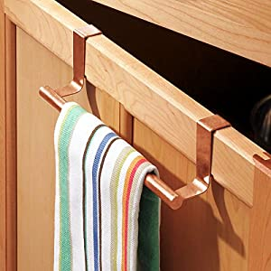 "mDesign Over-the-Cabinet Hand Towel Bar Holder for Kitchen Storage - Pack of 2, 9"", Copper"