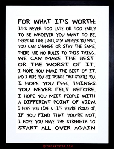 The Art Stop Quote Motivation Typography for What It's Worth White Framed Print F97X6198