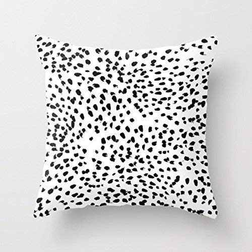 (Cookisn Cushion Covers, Throw Pillow case, Throw Pillow Covers, Nadia Black and White Animal Print Dalmatian Spot Spots Dots Bw Throw Pillow Case Cushion Cover 18 x 18 inches )