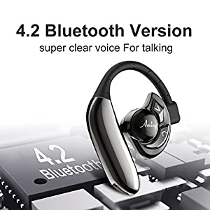 Aminy Bluetooth Headset with 16-Hr Playing Time V4.2 Car Bluetooth Headset Wireless Earphones with Mic Cell Phone noise cancelling Bluetooth Earpiece for iPhone Samsung Android (Updated Version)