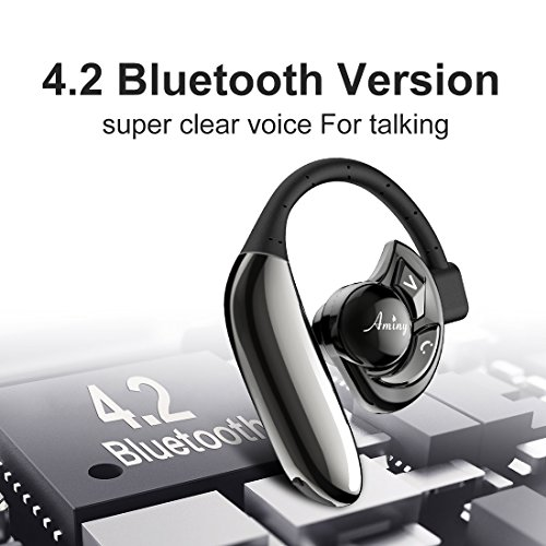 Aminy Bluetooth Headset with 16-Hr Playing Time V4.2 Car Bluetooth Headset Wireless Earphones with Mic Cell Phone noise cancelling Bluetooth Earpiece for iPhone Samsung Android (Updated Version) by Aminy (Image #2)