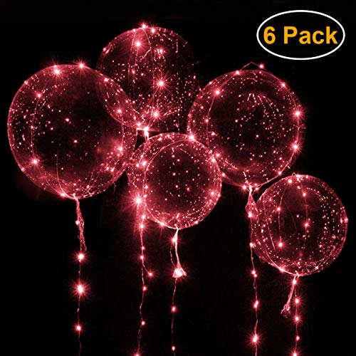 """Wedding Balloons with Red LED String Lights BoBo Balloon for Valentines Day Decoration Wedding Christmas Birthday and Party - Inflate to 20"""" Balloon with 10ft 30 LED String Lights [6pack]"""