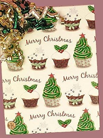 Amazon Com Christmas Cupcakes Gift Wraps 30 X 833 Gift Wrapping