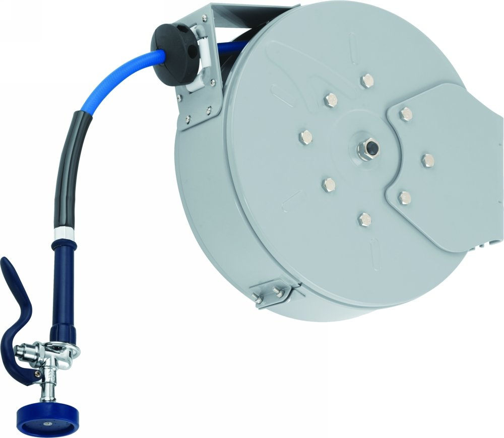 T&S Brass B-7222-C01 Enclosed Epoxy Coated Steel Hose Reel with Spray Valve, 30