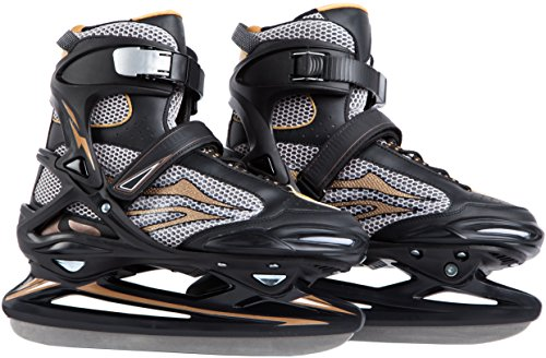 Ultega Adult Ice Skates, Black/Gold, 8-8.5 Black Womens Ice Skates