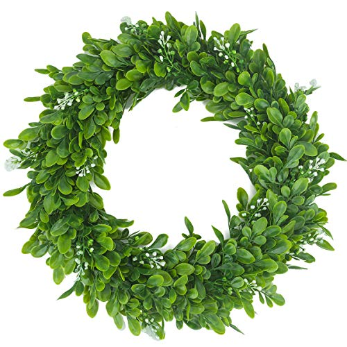 hantajanss Artificial Green Leaves Wreath for Front Door 15 Inches, Greenary Garland White Fake Bodhi Fruit Flowers Garland for Spring, Summer, Winter, Window, Wall, Wedding, Home, Party Décor