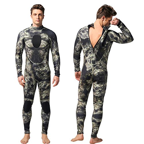 Nataly Osmann Mens 3mm Wetsuits Camo Neoprene Full Body Diving Suits One Piece Spearfishing Suit (camo01, M)