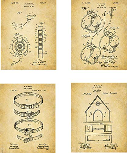 Dog Patent Wall Art Prints - set of Four (8x10) Unframed - wall art decor for dog lovers