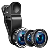 Yarrashop Mobile Phone Camera Lens Kit iPhone Lens With Fish Eye Lens +Macro Lens + Wide Angle Lens for iPhone 8/7/6/6s Plus/5s/SE, Samsung,Huawei, iPad,Snoy etc (3 in 1,Black)