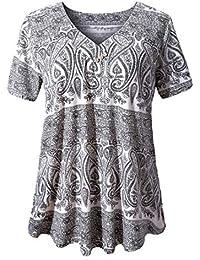 3ff1666dea5 Women s Plus Size Short Sleeve V Neck Swing Floral Tunic Tops