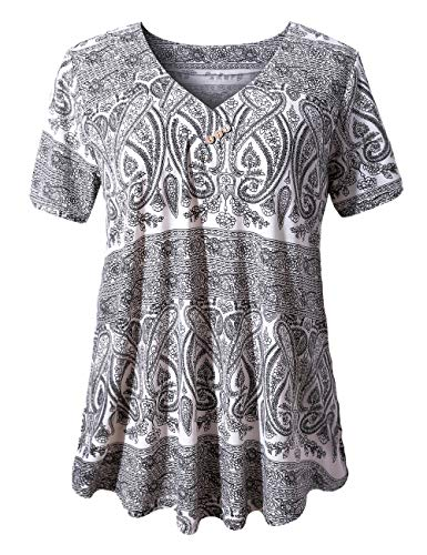 (FOLUNSI Women's Plus Size Foral Printed Short Sleeve Henley V Neck Pleated Casual Flare Tunic Blouse Shirt White Black 2XL)