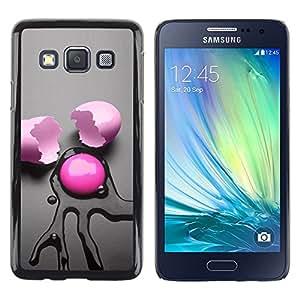 Caucho caso de Shell duro de la cubierta de accesorios de protección BY RAYDREAMMM - Samsung Galaxy A3 SM-A300 - Pink Egg Abstract