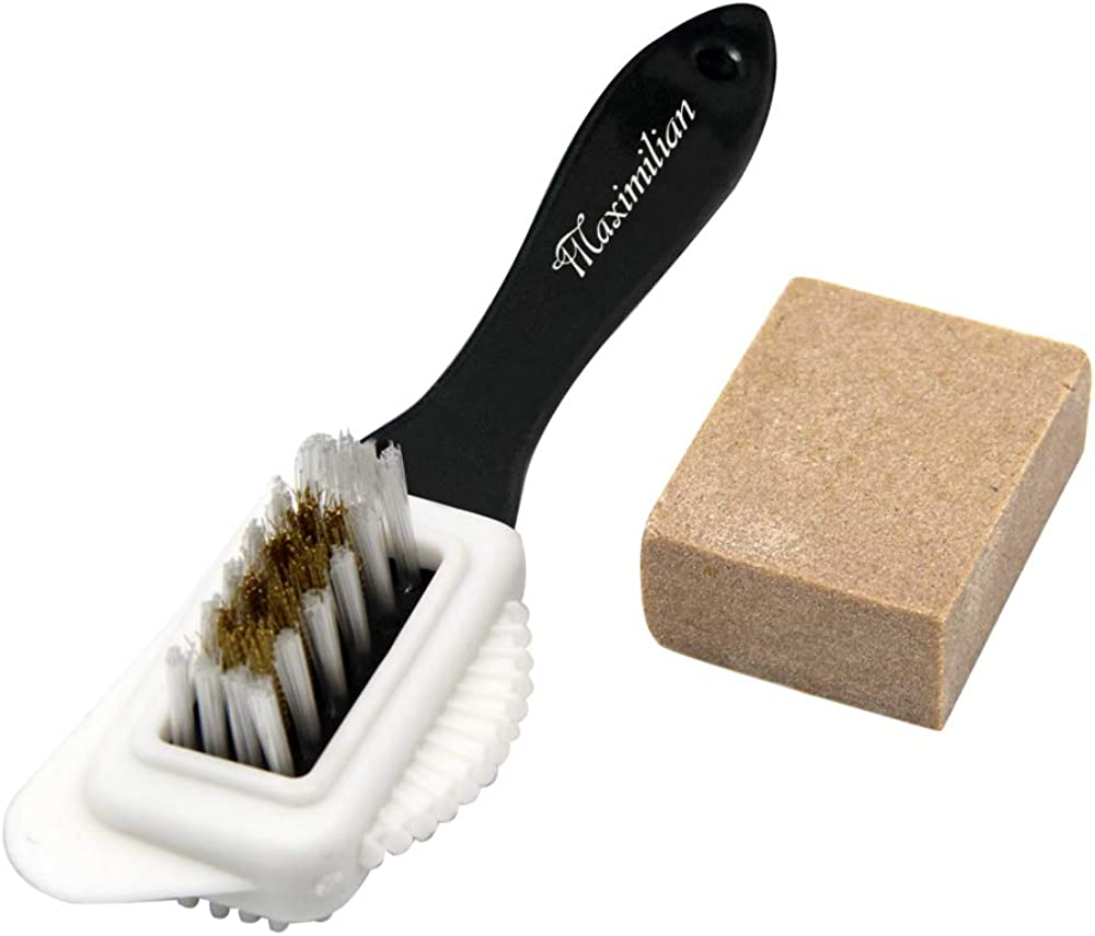 3 Suede and Nubuck Brush 4-Way Leather Brush Shoes Brushes with 10 Erasers