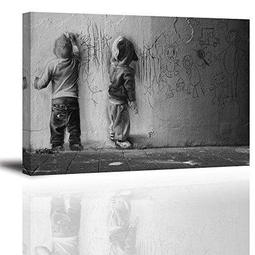 Canvas Wall Art for Living Room, PIY Scrawling Kids Picture Artwork, Graffiti Canvas Prints for Bedroom, 1 Thick, Bracket Mounted and Waterproof