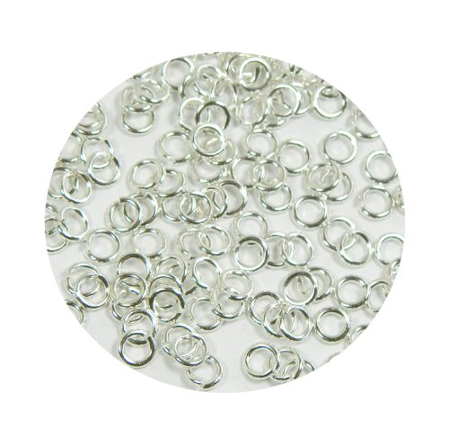 Rockin Beads 400 Jump Rings Silver-plated Brass 5mm Round 18 Gauge. Open Jewelry Connectors Chain Links ()