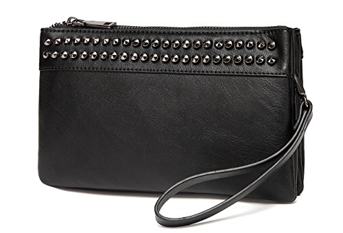 Wristlet Clutch Purses,VASCHY SAC Large Studs Soft Faux Leather Crossbody Evening Clutch Wallet for Women Black