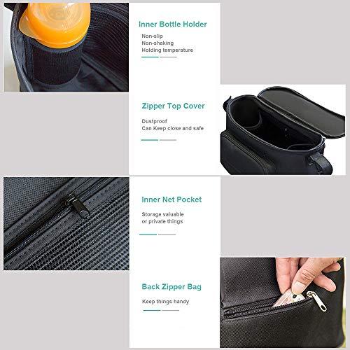 Large Buggy Pram Bag with 2 Cup Holders and Tissue Pocket, Pushchair Stroller Organiser for Mom Travel, Plus 2 Pram Hooks &1 Shoulder Strap