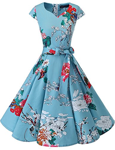 DRESSTELLS Retro 1950s Cocktail Dresses Vintage Swing Dress with Cap-Sleeves Floral L