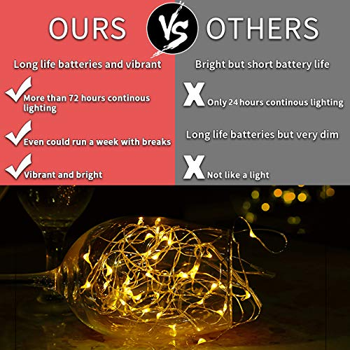 LEDIKON 24 Pack Fairy Lights Battery Operated,Warm White,LED String Lights, 7.2FT 20LEDs Battery String Lights, Waterproof Firefly Lights for Wedding Party Jars Crafts Christmas Home Decorations by LEDIKON (Image #2)