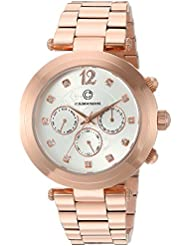 Cabochon Womens Papillon Quartz Stainless Steel Watch, Color:Rose Gold-Toned (Model: 10263-RG-22)