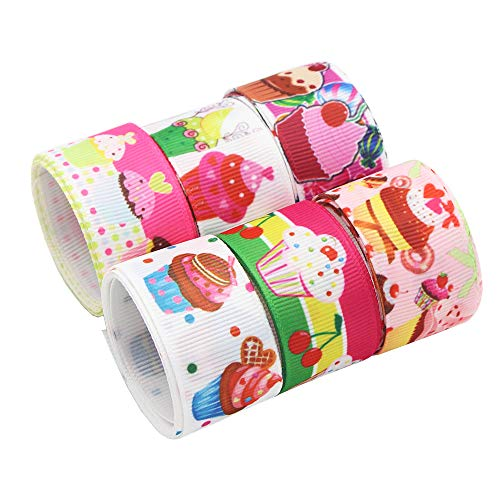 - Cupcake Grosgrain Ribbon 6Yards 25mm(1'') DIY Gift Packing Hair Bow Accessory (Style 22 25mm 6y)