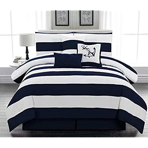 7pc. Microfiber Nautical Themed Comforter Set, Navy Blue And White Striped,  King Size. By Legacy Decor