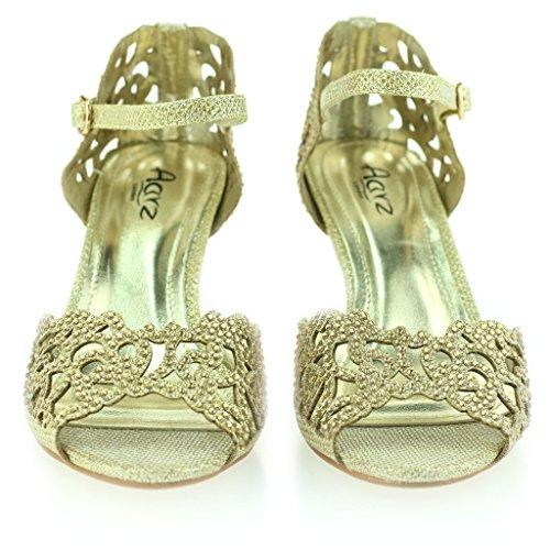 Femmes Dames Open Toe Diamante Mid Heel Soir Mariage Fête des Sandales Or Chaussures Taille 37