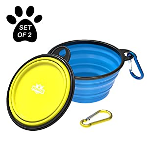 Collapsible Pet Bowls- Portable Silicone Food and Water Dog Bowl Set, BPA and Lead Free with Carabiner Clips for Travel 101
