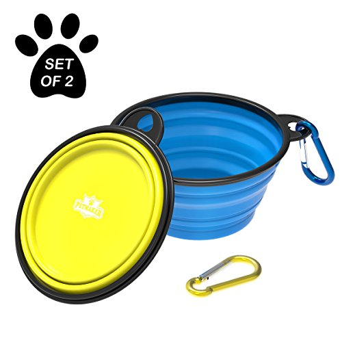 Collapsible Pet Bowls- Portable Silicone Food and Water Dog Bowl Set, BPA and Lead Free with Carabiner Clips for Travel- 2 Pack, 12oz Each