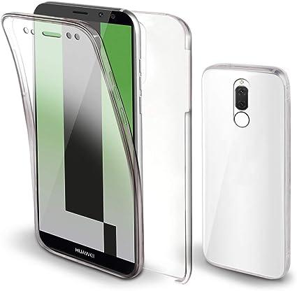 Moozy Cover 360 Gradi per Huawei Mate 10 Lite Trasparente - Full Body Case Custodia Copertura Completa - Anteriore in Silicone e Posteriore Rigida