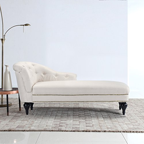 Large Classic Tufted Button Linen Fabric Living Room Chaise Lounge with Nailhead Trim (Beige)