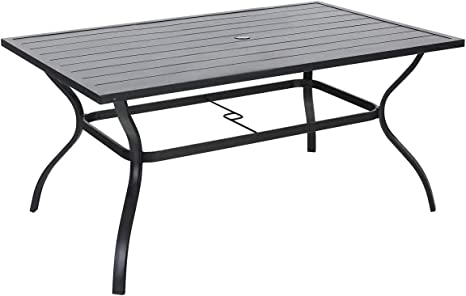 Amazon Com Outdoor Dining Table Square Patio Furniture Table With Umbrella Hole Kitchen Dining