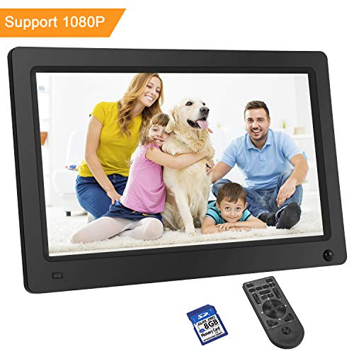 LESHP Digital Photo Frame 10 Inch 1280×800 Hi-Res with IPS LCD and Motion Sensor 1080P Full HD Video Playback Photo Calendar Slideshow Music Video Player Non-WiFi (Gift:8G Card Class 10)