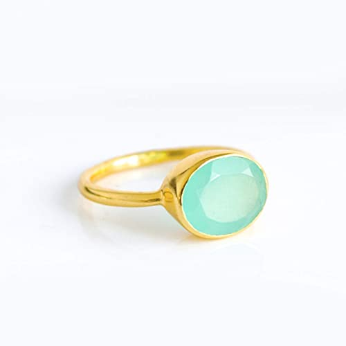 March Birthstone Oval Aqua Chalcedony Ring Bezel Set in Vermeil Gold or Sterling Silver