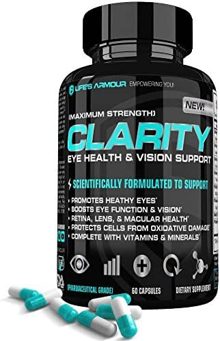 Vision Support by Life's Armour | High Potency Natural Eye Vitamin & Mineral Supplement with Lutein, Zeaxanthin, Eyebright, & more for your Eyes Health, Vision, Retina, Lens & Macular