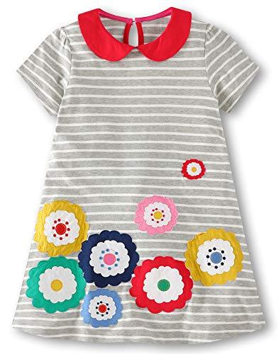 Fiream Girls Cotton Short Sleeve Casual Cartoon Striped Printed Dresses(6784,5T/5-6YRS) ()
