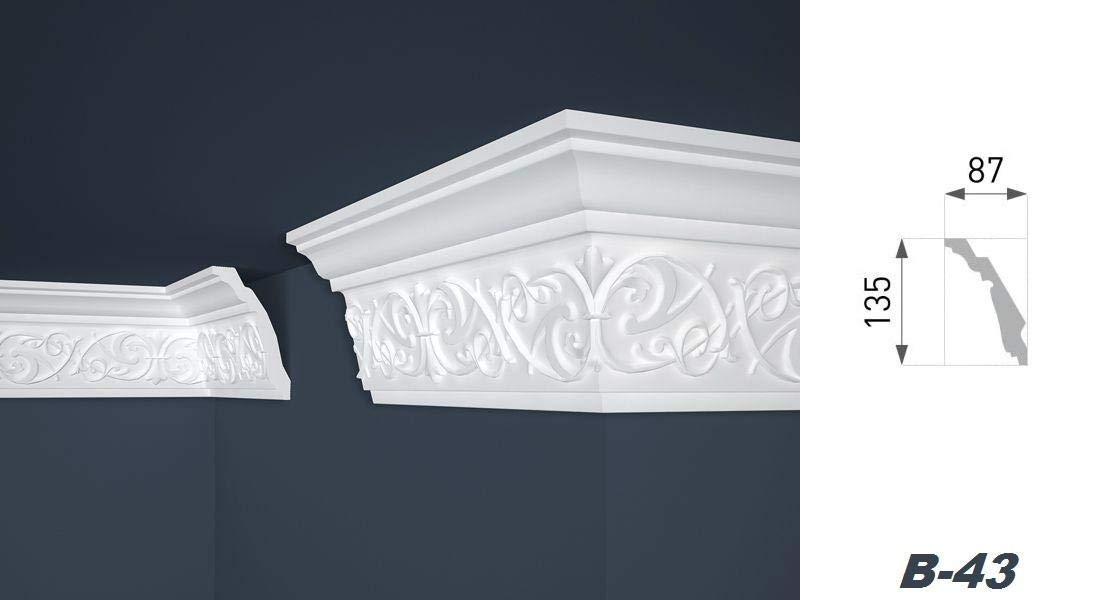 2 M/ètres moulures plafond eckleiste innendekor dekorprofil 87 x 135 mm b-43
