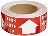 Polar Tech SCL242 Pressure Sensitive Permanent Adhesive Label,''THIS SIDE UP'', 4'' Length x 2'' Width, White on Red (Roll of 500)